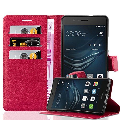 Cadorabo - Funda Huawei P9 LITE Book Style de Cuero Sintético en Diseño Libro - Etui Case Cover Carcasa Caja Protección (con función de suporte y tarjetero) en NEGRO-FANTASMA ROJO-CARMÍN