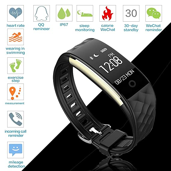 Amazon.com: Bluetooth Smart Watch IP67 Waterproof Smart Bracelet Heart Rate Monitor Sports Wristband Fitness Tracker Multi-Sport Mode Health Monitor ...