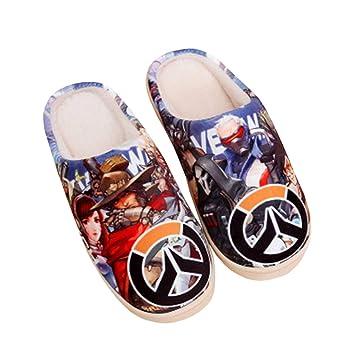 SFHK Algodón Zapatillas Dibujos Animados Anime Impresión Linda Felpa Espesar Zapatos Calentar Unisexo Casa Invierno Antideslizante Poder Lavable Zapatilla ...