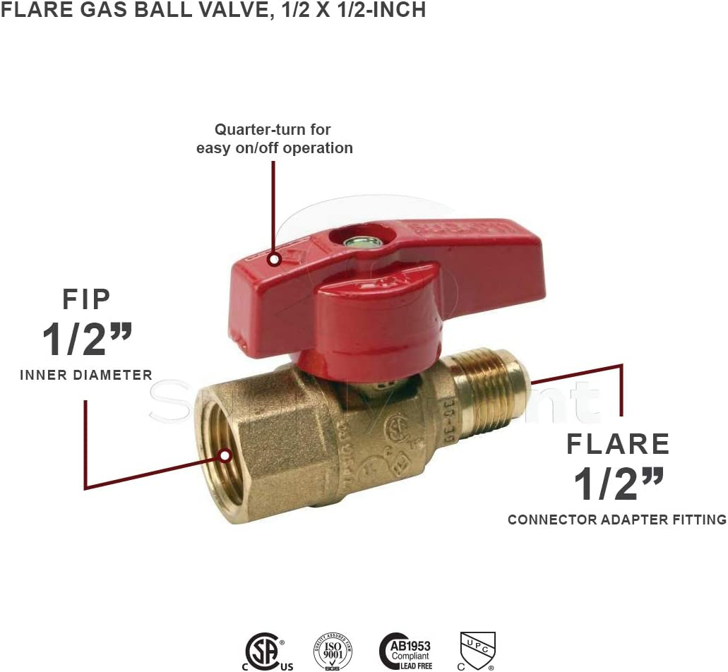 Brass Construction Corrosion Resistance Flextron FTGV-58R34F Gas Valve with 5//8 Inch Outer Diameter Flare x 3//4 Inch FIP Ball Valve Fittings for Gas Connectors with Quarter-Turn Lever Handle
