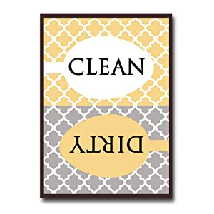 Clean Dirty Dishwasher Magnet Sign - Modern Elegant Moroccan Trellis Pattern - Yellow Gold Grey - 2.5 x 3.5 - Housewarming, Gag Gift Idea for Mom Dad/Christmas Stocking Stuffers for Women Men Teens