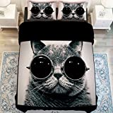Cat Reactive Printed Duvet Cover Set,Twin Queen King Size 100% Soft Polyester Bedding Set (Queen)