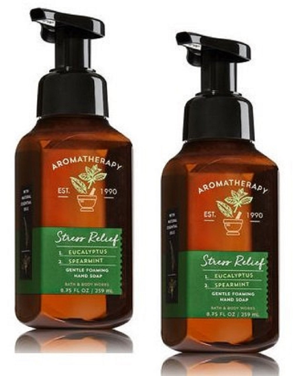 Bath and Body Works 2 Pack Aromatherapy Stress Relief Eucalyptus & Spearmint Gentle Foaming Hand Soap 8.75 Oz