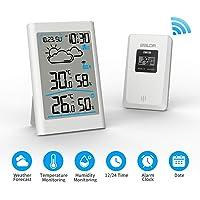 Ray Cue Station météo sans Fil, Radio météo numérique avec sonde extérieure, thermomètre numérique hygromètre Humidité ambiante extérieure avec prévisions météo, Horloge, Alarme et veilleuse