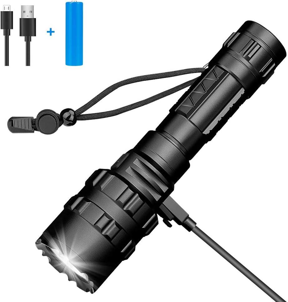 Linkax Torche Lampe de Poche LED Torche Militaire Poche LED Ultra Puissante tactique Zoomable Etanche 800LM pour Camping Randonn/ée 6*AAA batteries incluse(2PCS