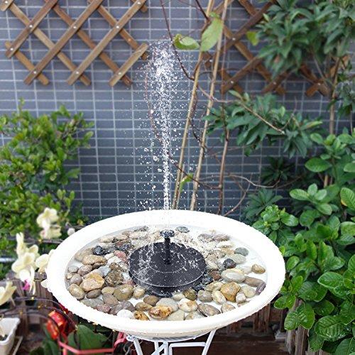 BHY Solar Fountain Pump, 1.5W Solar Powered Bird Bath Water Fountain Panel Birdbath Floating Outdoor Fountain Kit Garden Fish Tank, Pond, Pool, Water Cycling by BHY (Image #4)