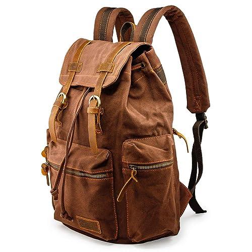 46066e19d99 GEARONIC TM Men 21L Vintage Canvas Backpack Leather Laptop School Military