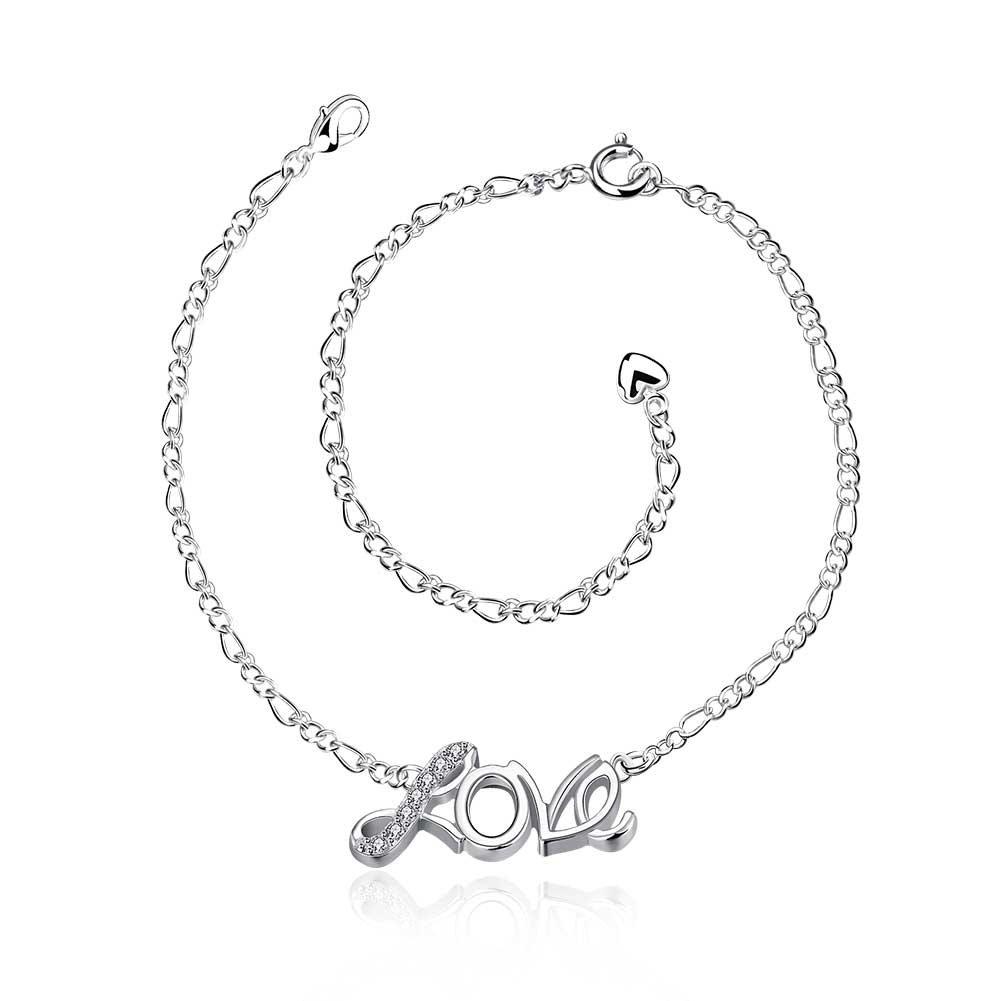 JTKJMM Anklets for Women Girls Ankle Chains Bracelets Adjustable Beach Anklet Foot Jewelry (Love)