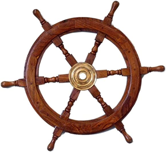 """Nautical Deluxe Class Wood and Brass Decorative Ship Wheel 30"""""""