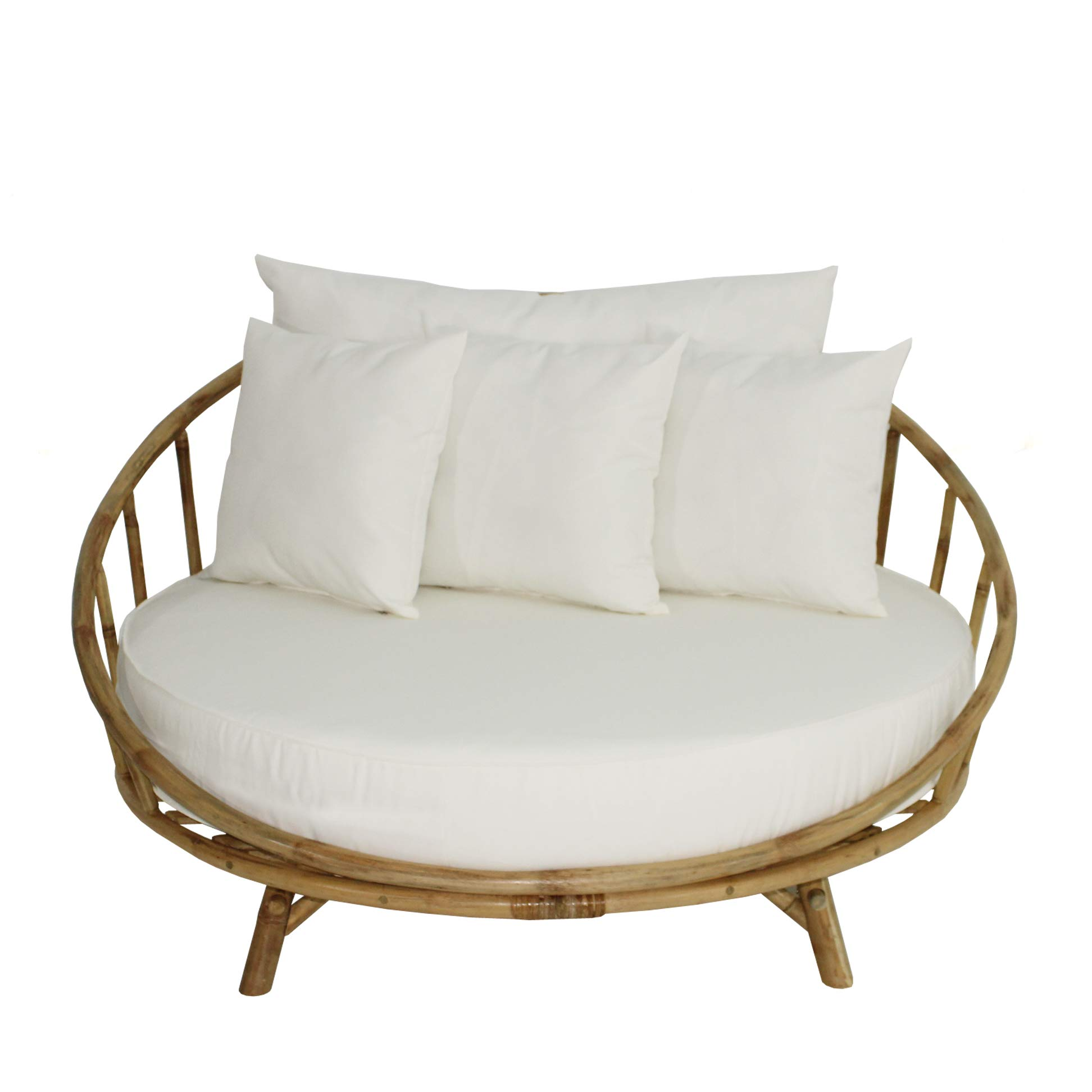ZEW Bamboo Round Daybed Outdoor Indoor Large Accent Sofa Chair Lawn Pool Garden Seating with Cushion and Pillows Sofabed, Natural