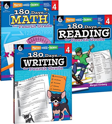 180 Pull - 180 Days of Practice for 4th Grade (Set of 3), Assorted Fourth Grade Workbooks for Kids Ages 8-10, Includes 180 Days of Reading, 180 Days of Writing, 180 Days of Math