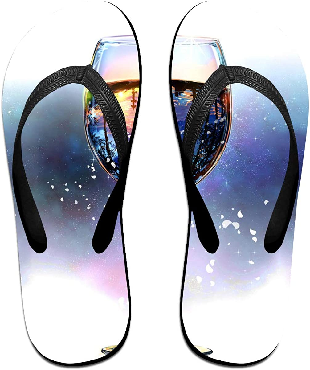 Couple Slipper Glass Of Fantasy Water Print Flip Flops Unisex Chic Sandals Rubber Non-Slip Beach Thong Slippers