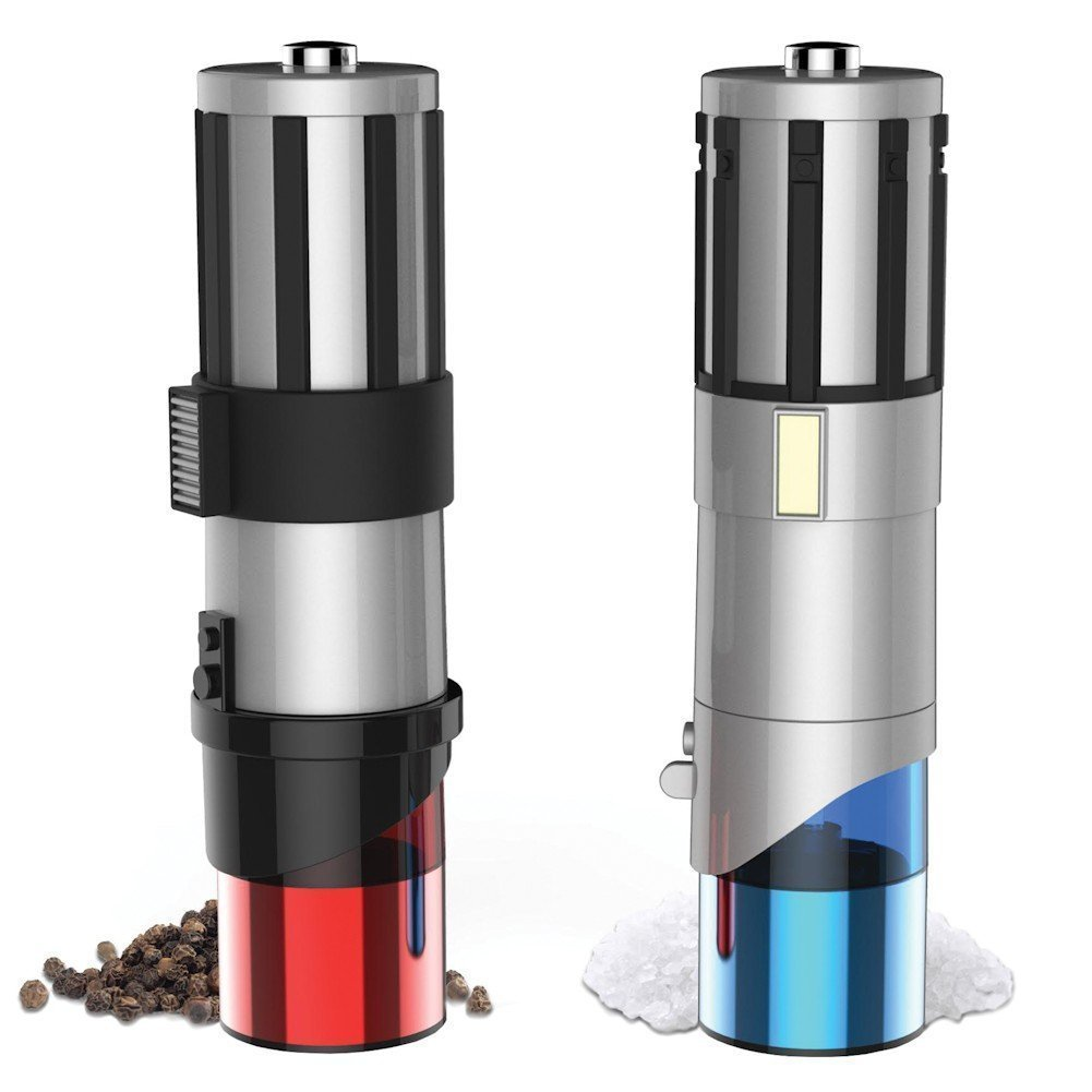 Star Wars Lightsaber Electric Salt and Pepper Shakers- The Official Jedi Salt and Pepper Grinders Of The Universe by Pangea Brands
