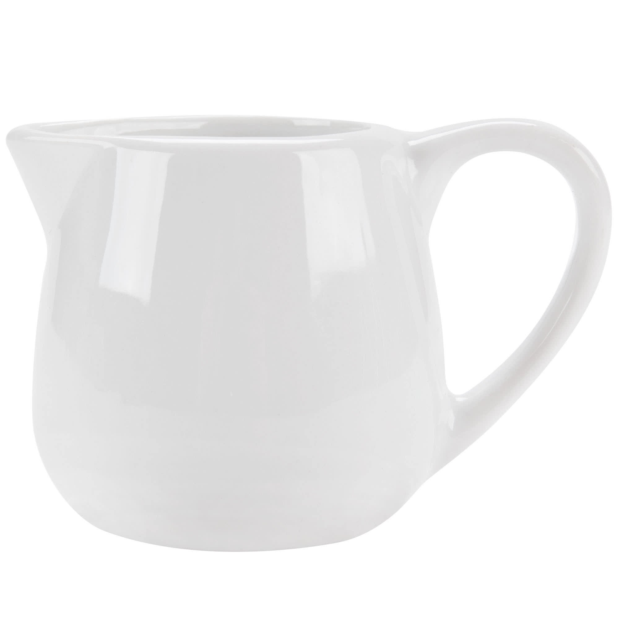 Tabletop King PC-401 Bright White Porcelain 1.5 oz. Creamer with Handle - 48/Case