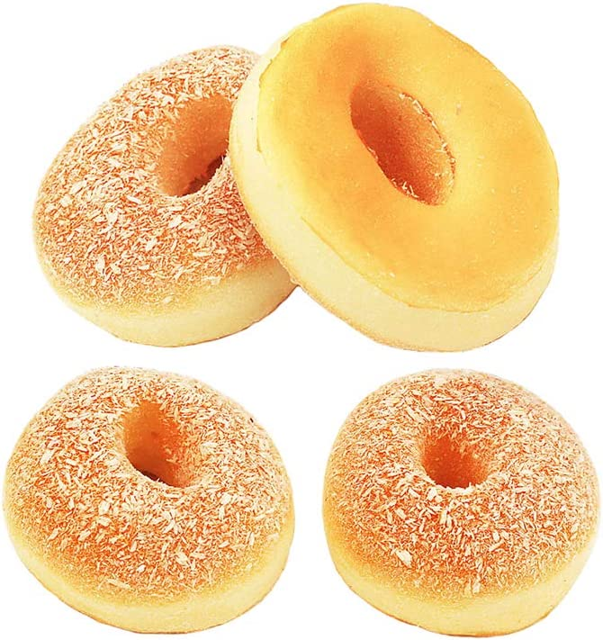 HT 4PCS Big Coconut Doughnut Simulation Food Artificial Fake Food Model Play Food Kids Toy Home Kitchen Party Decoration Store Market Display Photography Props, Color Random (Big Coconut Doughnut)