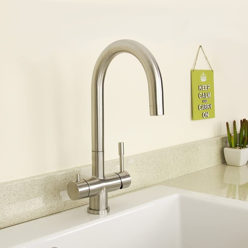 WaterLux WL-302STS Deluxe 3-Way Kitchen Faucet- Reverse Osmosis System Stainless Steel Finish Lead Free Hot and Cold Water