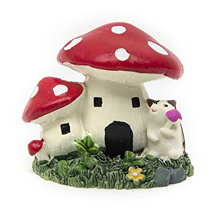 BESTIM INCUK Miniature Fairy Garden Mushroom House Ornament Dollhouse Plant Pot Figurine DIY Outdoor Decor Home Decoration