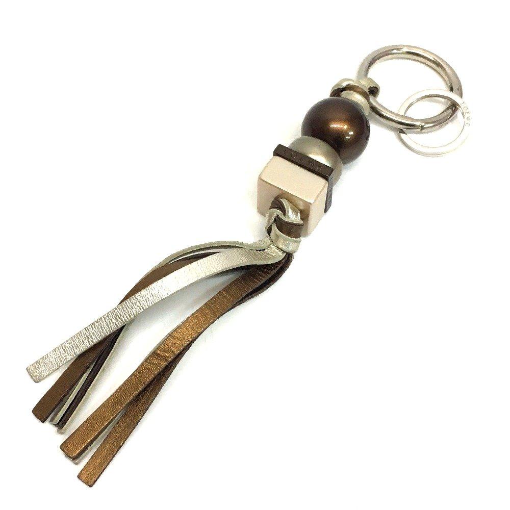 (ロエベ) LOEWE ロゴ金具 フリンジ キーホルダー キーリング プラスチック/レザー レディース 中古   B079D66221