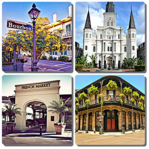 - EXIT82ART - Stone Drink Coasters (Set of 4). New Orleans French Quarter Iconic Street Scenes. Tumbled Stone, Cork-backed.
