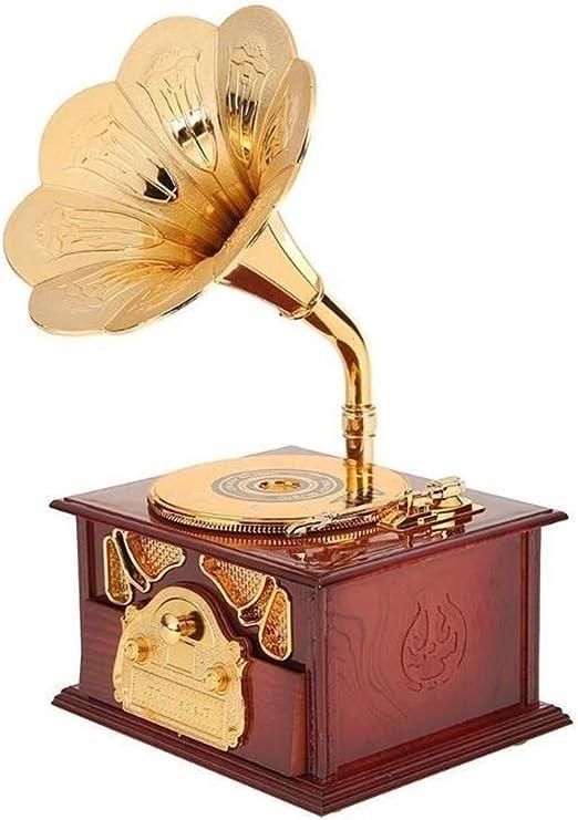 ZJY Caja de música de Madera Antigua Fonógrafo de Metal Manivela de Mano Cajas de música Caja de música clásica Creativa Decoración Regalo de cumpleaños de Navidad Cajas Musicales (Color : B):