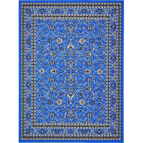 "Unique Loom Kashan Collection Dark Blue 10 x 13 Area Rug (9' 10"" x 13')"