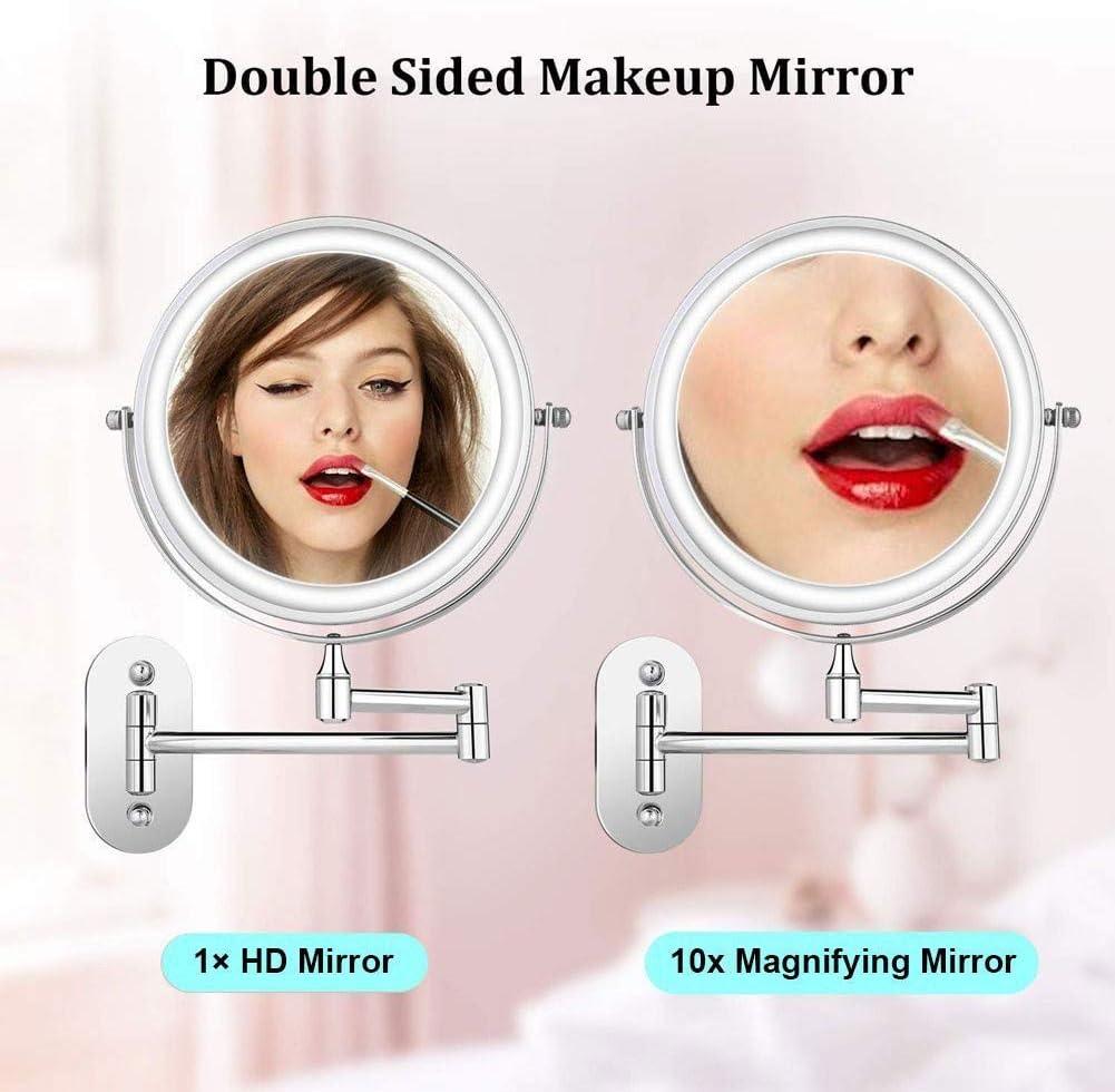 Y-only Kosmetikspiegel beleuchtet wandmontage schminkspiegel mit Beleuchtung und vergroBerung 10 Fach Vergr/ö/ßerungsspiegel klappbar Rasierspiegel 3X