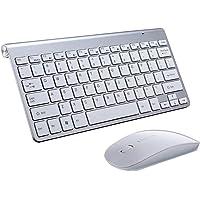 Conjunto De Mini Teclado E Mouse Sem Fio Com Receptor USB 2.4G Para MacBook PC - Prata