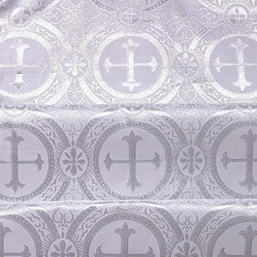 "Liturgical Brocade,Church Gorgeous Cross Acetate Taffeta Brocade Fabric Cross Metallic Brocade 60"" Wide"
