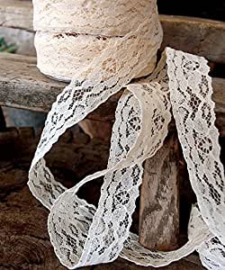"""AK-Trading 1"""" wide x 25 yards Ivory Floral Pattern Lace Ribbon for Decorating, Floral Designing and Crafts"""