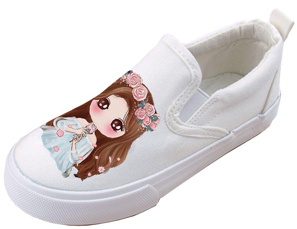 VECJUNIA Girl's Cute Elastic Antiskid Durable Slip-On Canvas Flats Shoes With Cartoon Print (White3, 10.5 M US Little Kid) by VECJUNIA (Image #2)