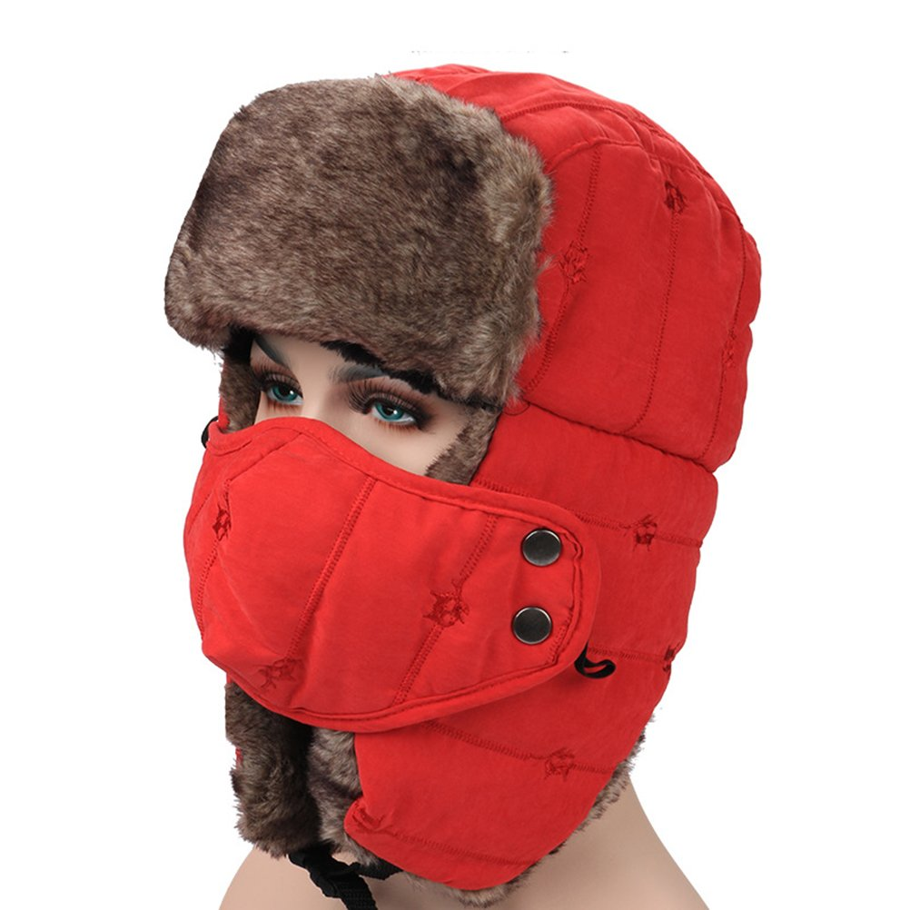 Trapper Aviator Russian Hunting Windproof with Mask Ear Flaps Pilot Bomber Hat Red