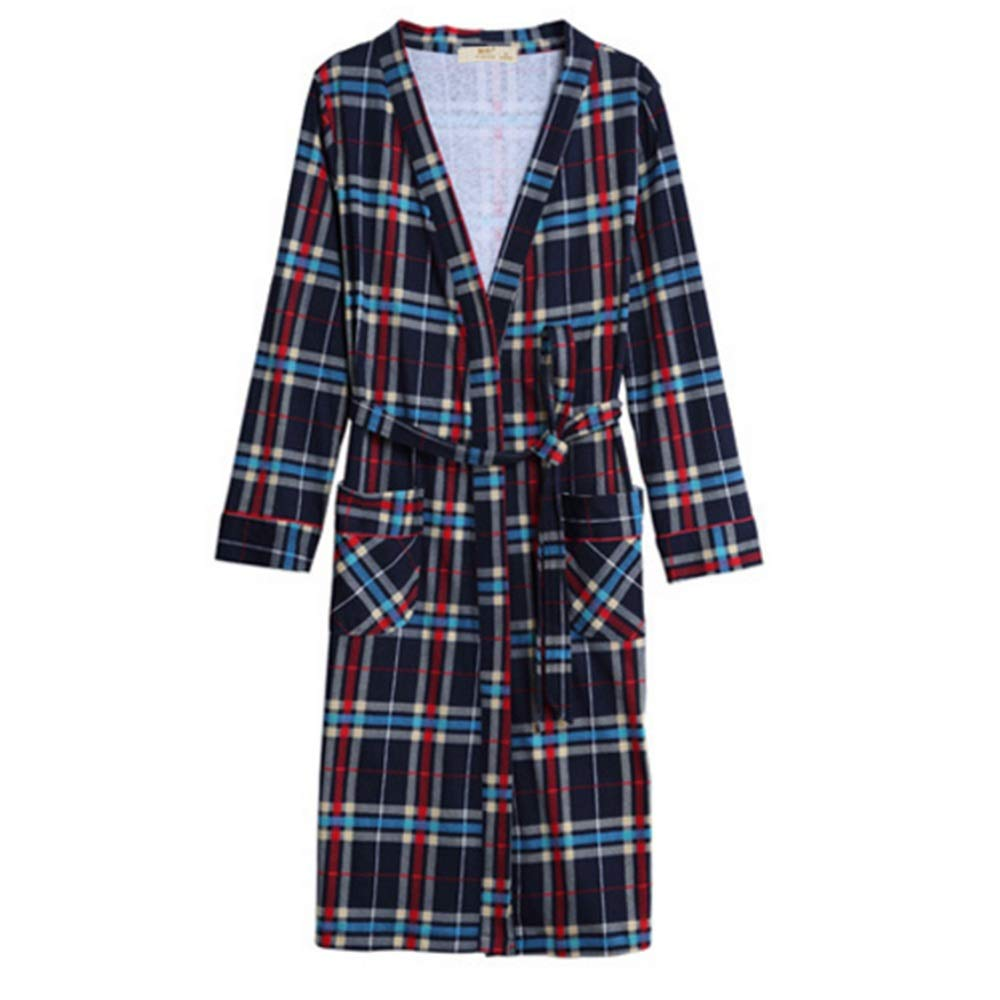 NAN Liang Mens Check 100% Cotton Bathrobe Dressing Gown Women's One Piece Bathrobe Thicken Tracksuit (color   A, Size   XXL)