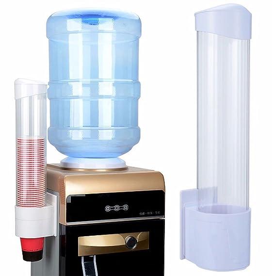 Dispensador de tazas desechables, dispensador de vasos de plástico para montaje en pared, dispensador de tazas de agua Tamaño libre blanco: Amazon.es: Hogar