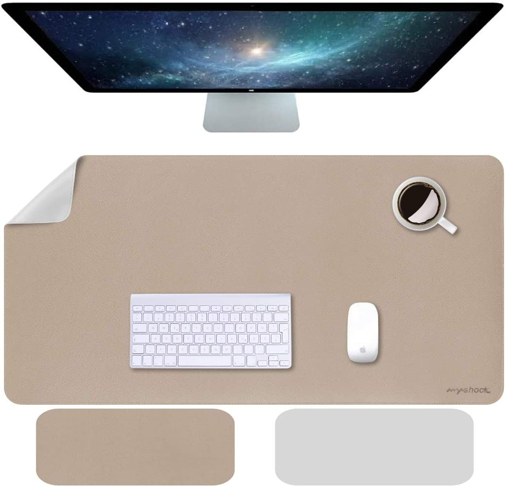 "Anyshock Desk Pad, Dual-Side Use Mouse Mat, Waterproof PU Leather Desk Blotter Protector Mouse Pad, Multifunctional Desk Writing Mat for Office,Game, Laptop, Home (Khaki + Silver, 31.5"" x 15.7"")"