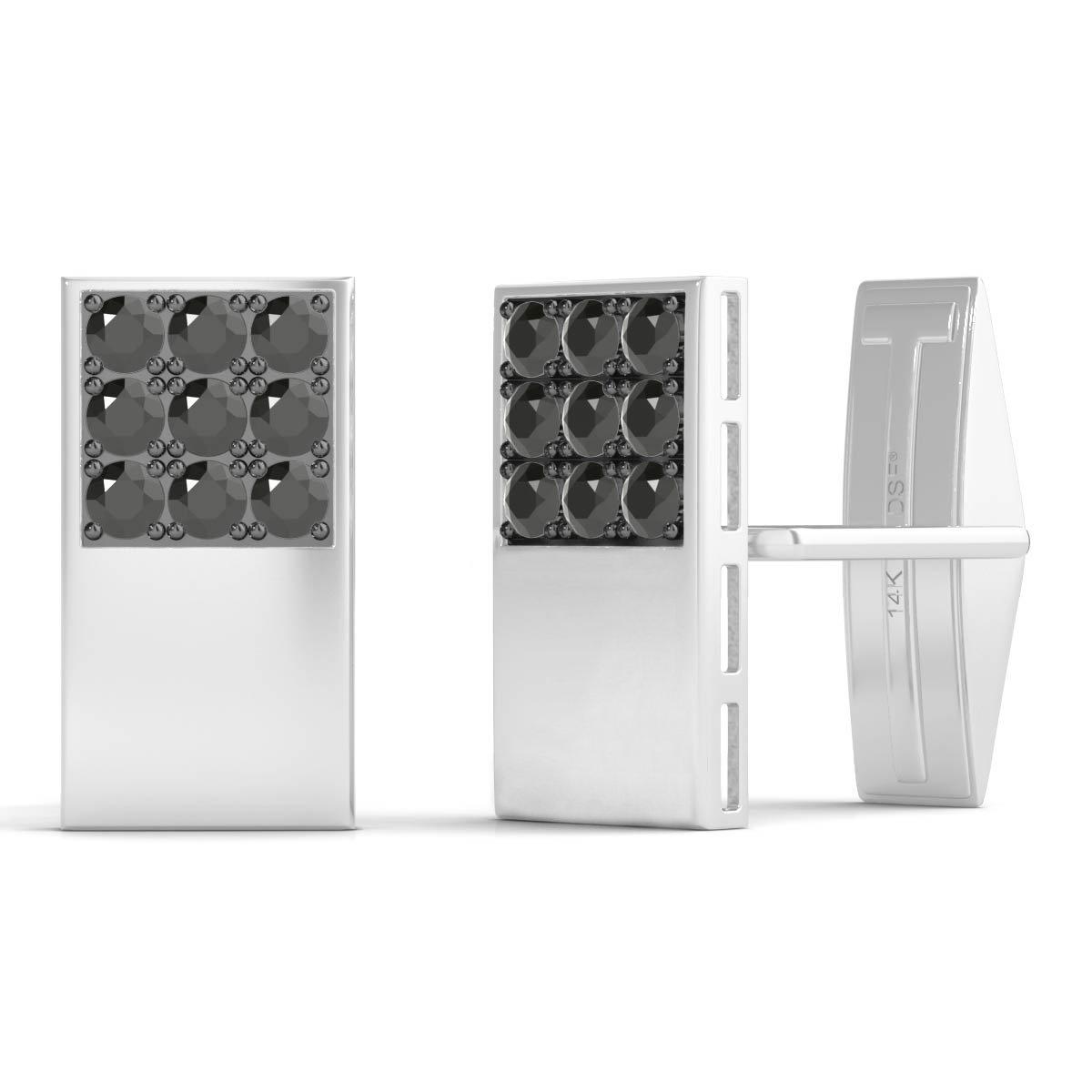 Diamond Studs Forever 3/4 Ctw Black Diamond Cufflinks AGS Certified 14K White Gold
