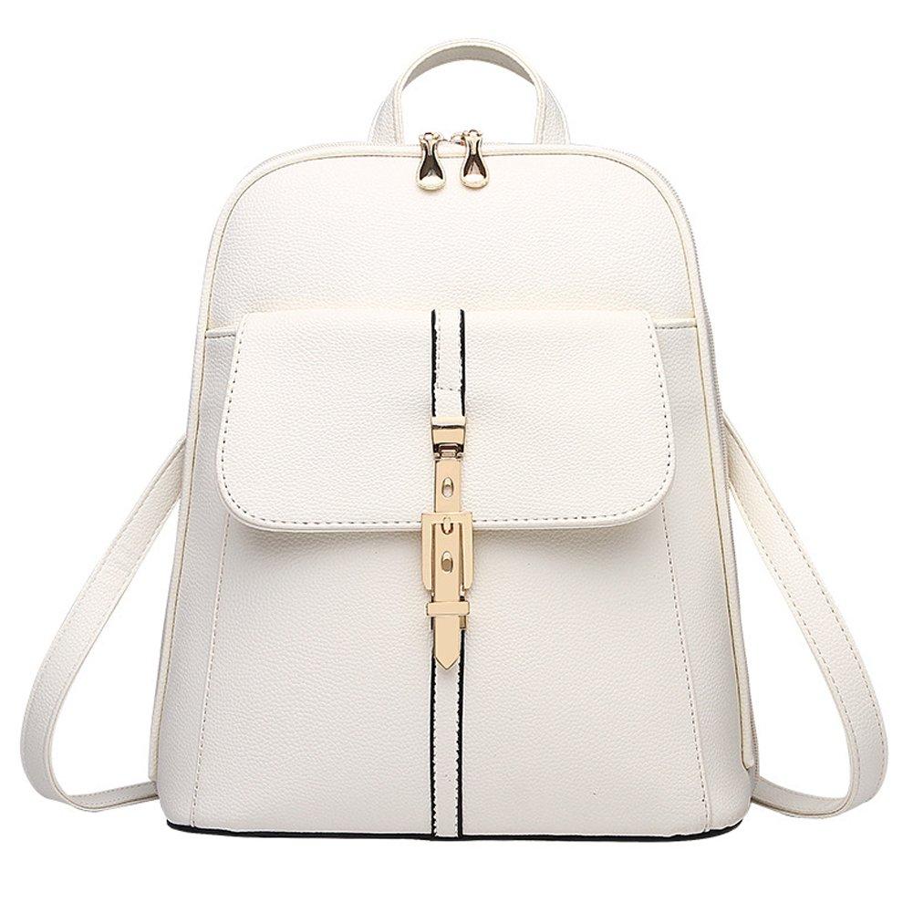 Z-joyee Casual Purse Fashion School Leather Backpack Shoulder Bag Mini Backpack for Women & Girls,Beige White4