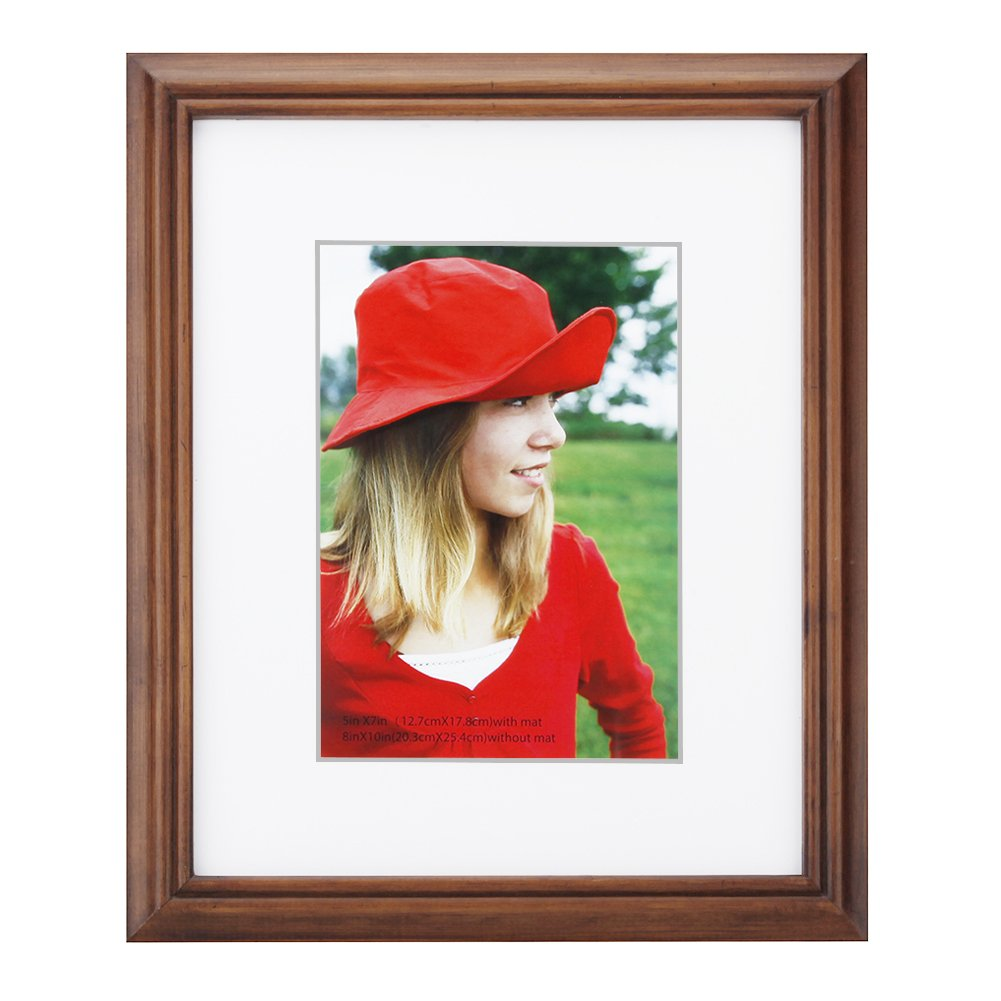 8x10 inch Picture Frame Made of Solid Wood and High Definition Glass Display Pictures 5x7 with Mat or 8x10 Without Mat for Wall Mounting Photo Frame Brown
