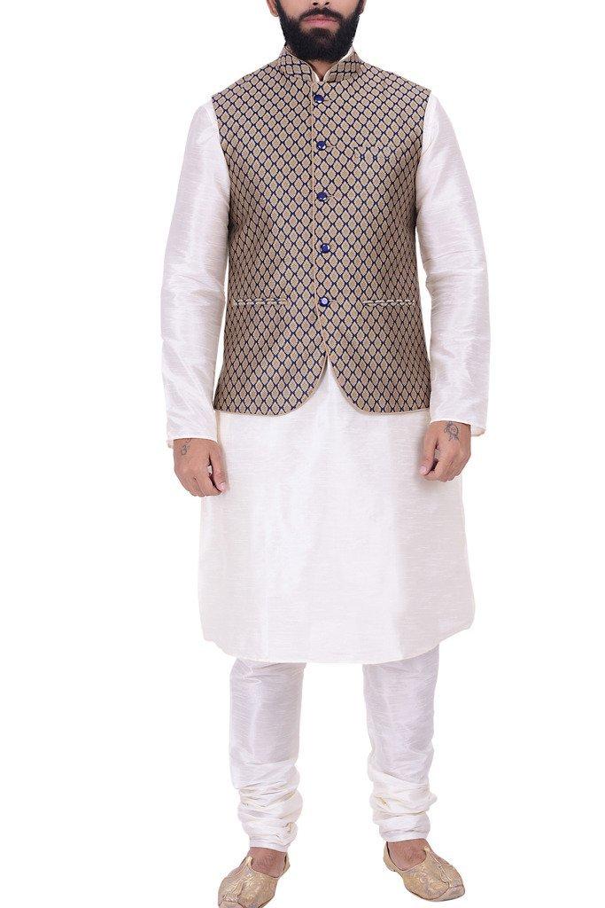 KISAH Men's Dupion Silk Kurta, Jacket & Churidar Set 44 Beige, Blue & Off White by KISAH