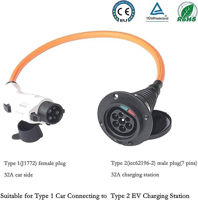 K H O N S Type 1 Auf Type 2 Ladekabel Ev Adapter 32amps Für Typ 1 Elektrofahrzeuge Typ 1 Bis Typ 2 Für Evse Ladegerät Typ 2 Oder Typ 2 Ev Auto