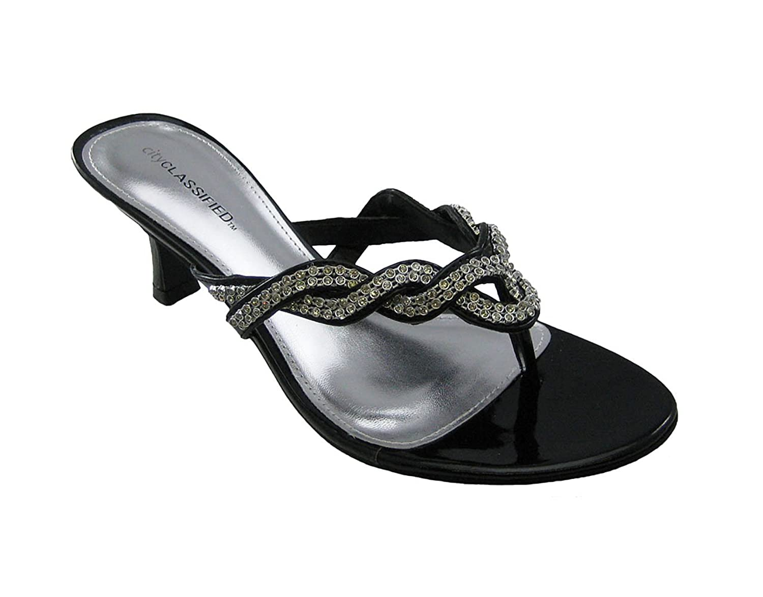 Amazon.com | Dazzle Kitten Heel Rhinestone Thong Sandals Black ...
