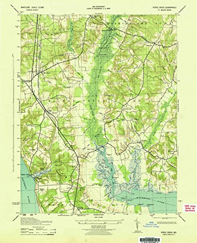Deer Creek Corner (YellowMaps Popes Creek MD topo map, 1:31680 scale, 7.5 X 7.5 Minute, Historical, 1943, 21.1 x 17.1 IN - Tyvek)