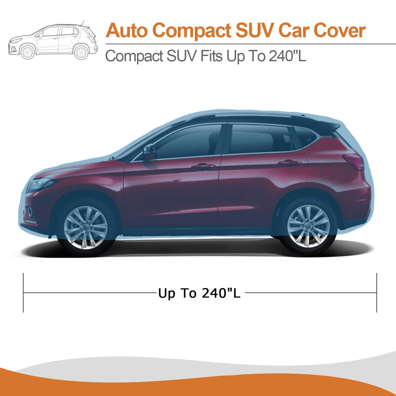Windproof Car Protection for Indoor Outdoor XCAR 3 Layer Silver Sunshade UV Car Cover 185 Length with Zipper