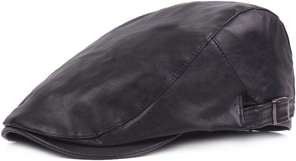 RICHTOER Men Newsboy Cap Leather Beret Leather Cap Flat Caps Winter Driving Caps