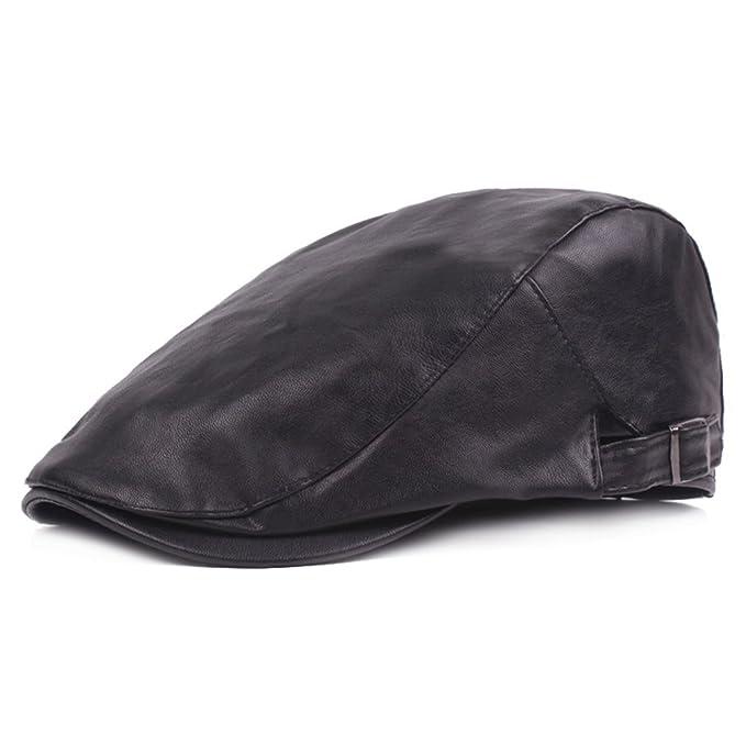 6993f3aadfb RICHTOER Men Newsboy Cap Leather Beret Leather Cap Flat Caps Winter Driving  Caps (Black)