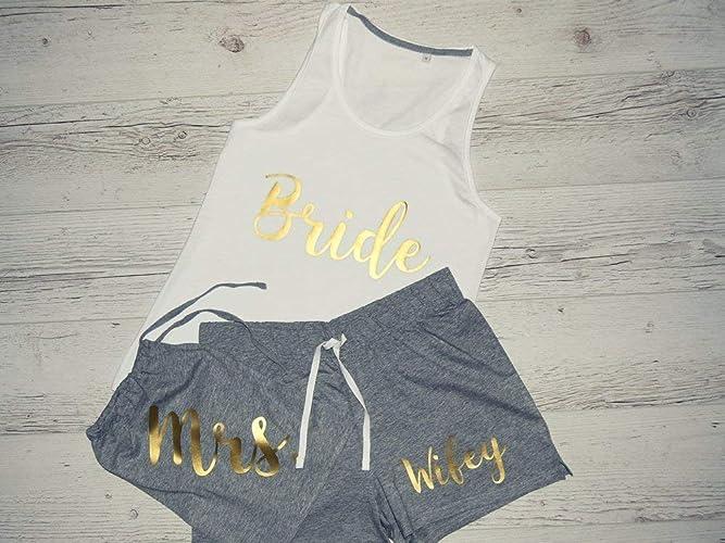 0bfca79f47 Amazon.com: Bride Pajama Set, Bridal Night Wear, Personalized Pyjamas,  Custom Wedding Shower Gift, Bride, Maid of Honor, Bridesmaid, Family of the  Bride: ...