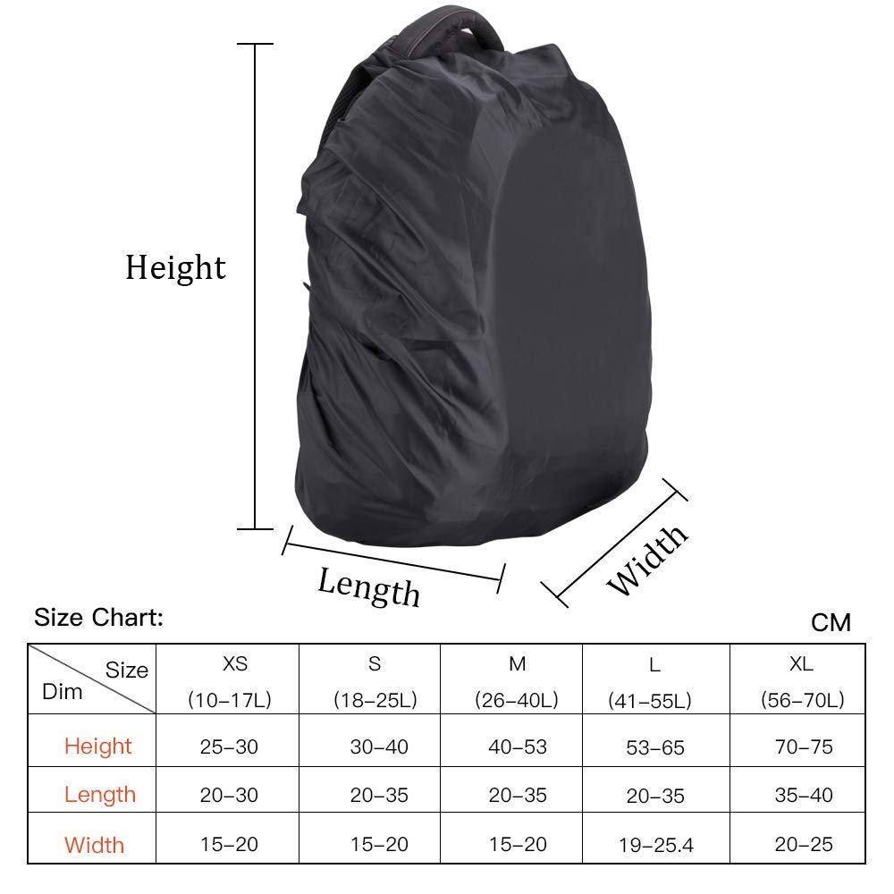 AGPTEK 2-Pack Nylon Waterproof Backpack Rain Cover for Hiking/Camping/Traveling/Outdoor Activities, Black,Blue,Orange,Green,5 Size (XS:10-17L,S:18-25L,M:26-40L,L:41-55L,XL:56-70L) L:41-55L BRCBL