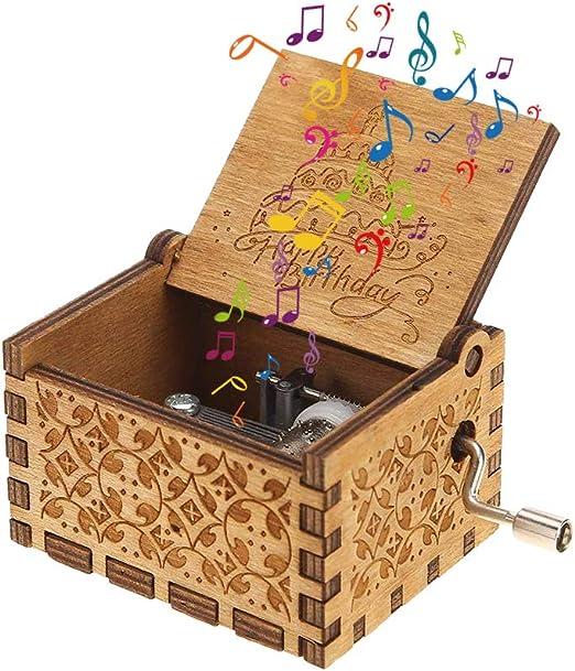Kylewo Caja de música, Variedad de Estilos Caja de música, Caja de música grabada en Madera Manivela Padrino Feliz cumpleaños Amigos Regalos: Amazon.es: Hogar