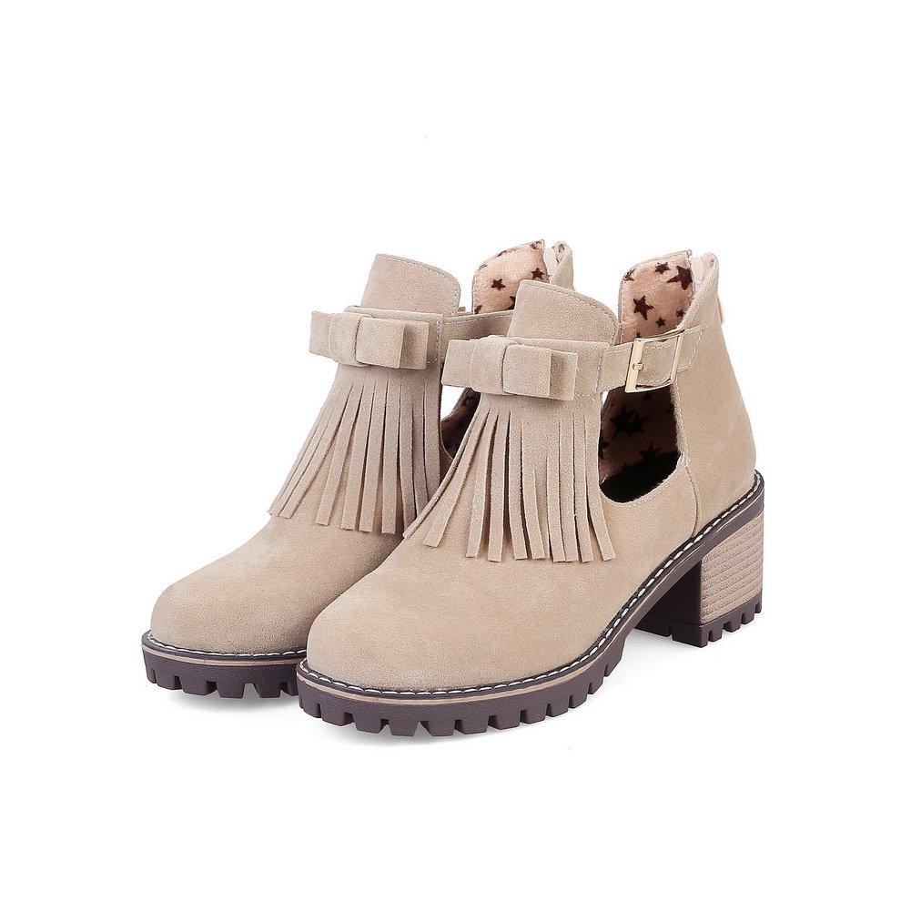 AandN Womens Boots Zip Adjustable-Strap High-Heel Waterproof Road Dress Round-Toe Apricot Boots DKU01924-6.5 B M US