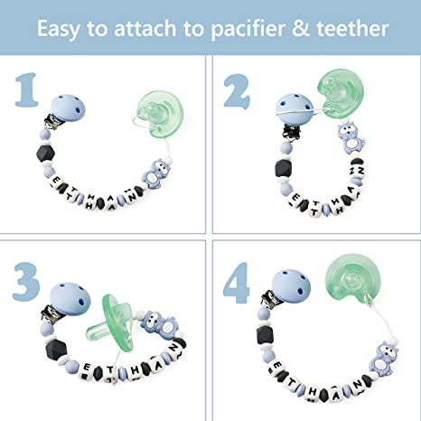Pacifier Clip Personalized Name, MCGMITT Customized Binky Holder Teething Silicone Beads for Baby...