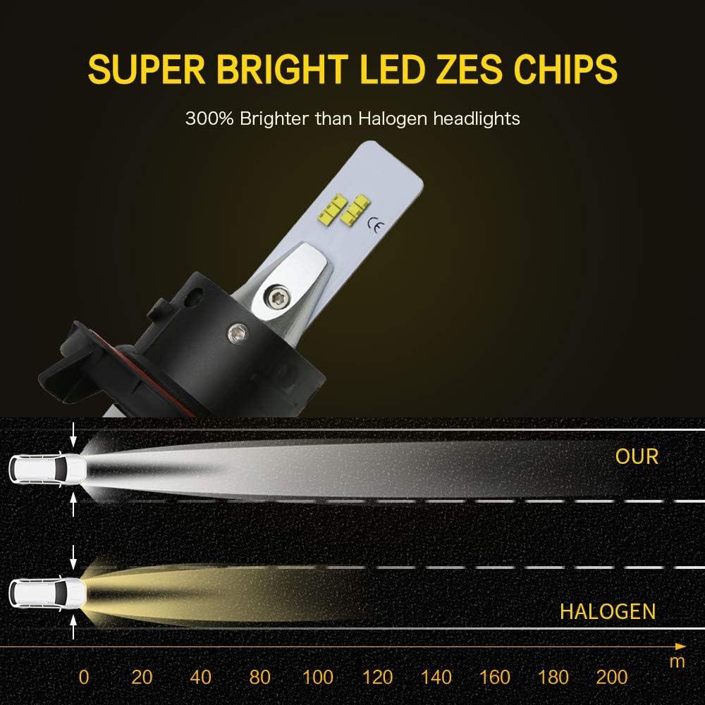 ZDATT 9008 H13 Led Headlight Bulbs Hi Lo Beams 100W 12000LM 6000K Brightest White ZES Chips Light Conversion Kits